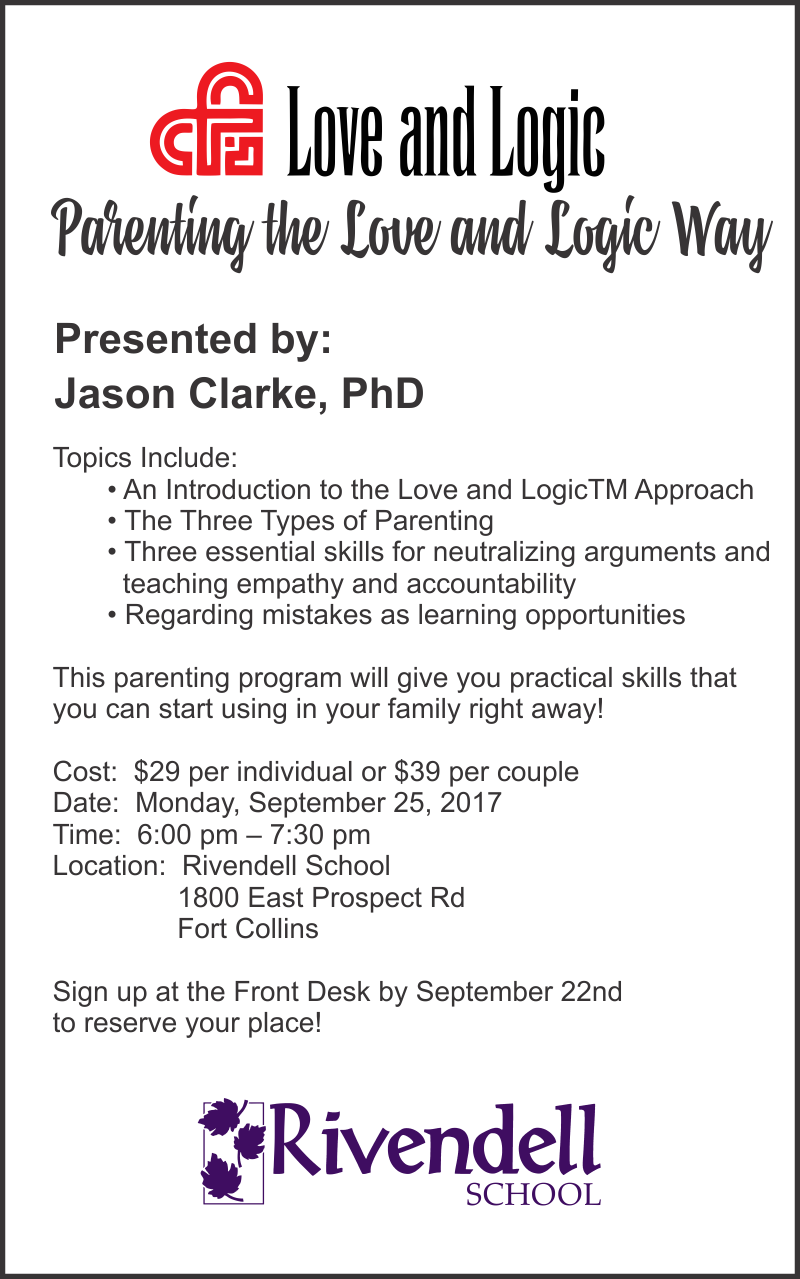 Parenting With Love and Logic Class – Rivendell School